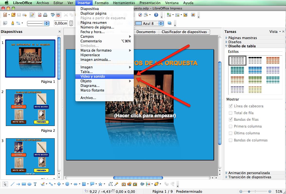 El sonido en presentaciones de Libre Office.