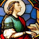 Vidriera con la imagen de Santa Cecilia