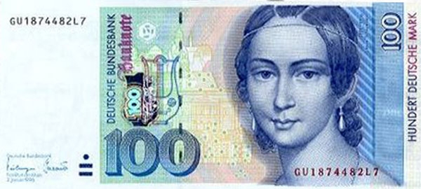 Billete alemán con la imagen de Clara Schuman