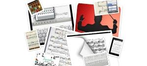 Collage. Capturas de imágenes de lectores de partituras para iPad