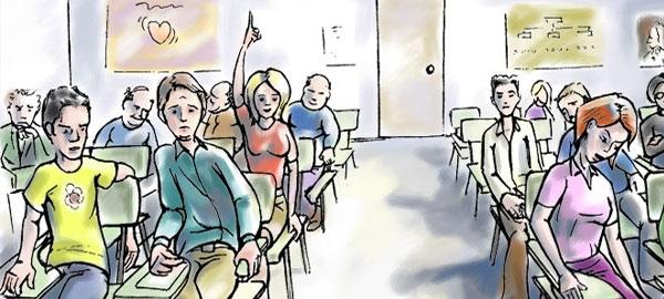 Clase con estudiantes