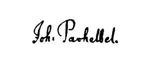 Firma autógrafa de Pachelbel.
