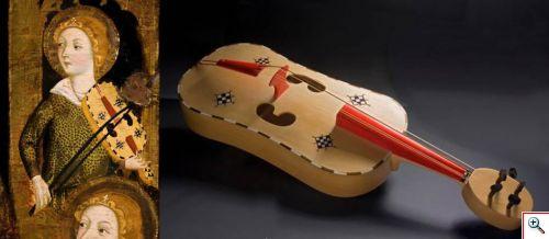 Tabla de Jaume Serra, del Museo de Bellas Artes de Zaragoza, y vihuela de arco construida siguiendo el modelo pintado. / SELENIO