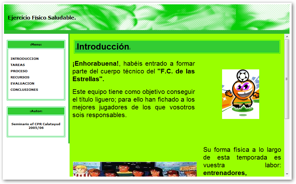 Pantalla de introducción de la webquest