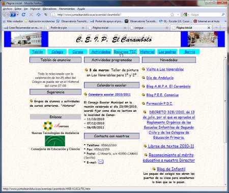 Página de inicio de el CEIP El Carambolo