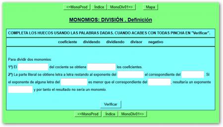 Actividad de división de monomios