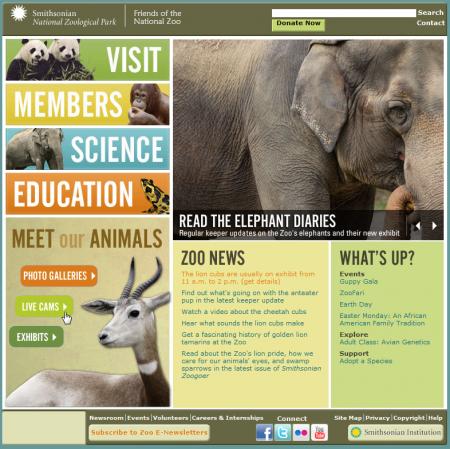 Página principal del zoo
