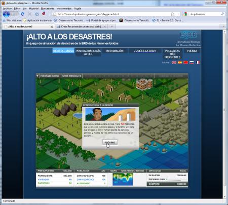 Portada de acceso al juego indicando la misión