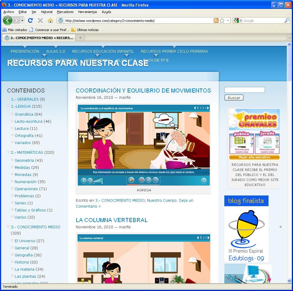 Captura de pantalla de la web Recursos para nuestra clase
