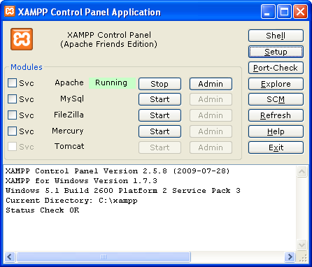 how to start xampp control panel