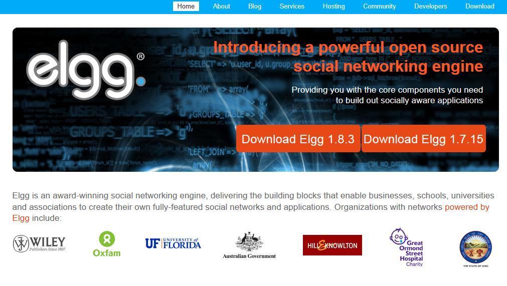 Página principal de Elgg