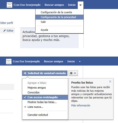 Detalles de configuración de cuenta de Facebook