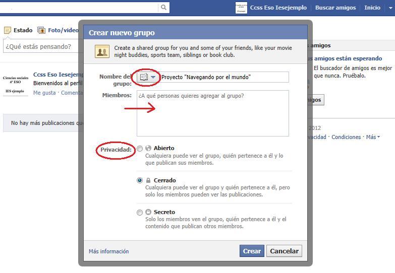 Crear nuevo grupo Facebook