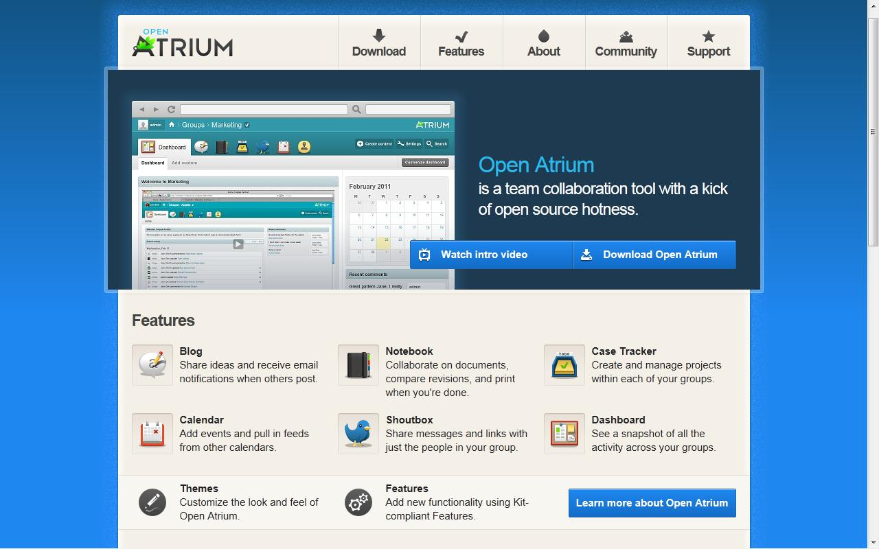 Página principal de OpenAtrium