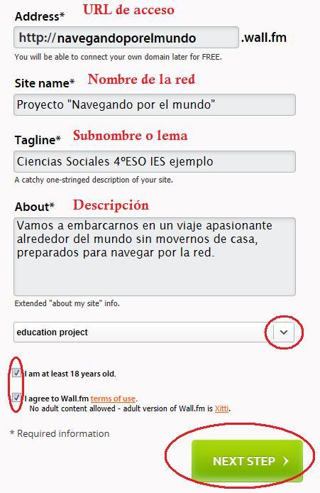 Creación de una red en Wall.fm