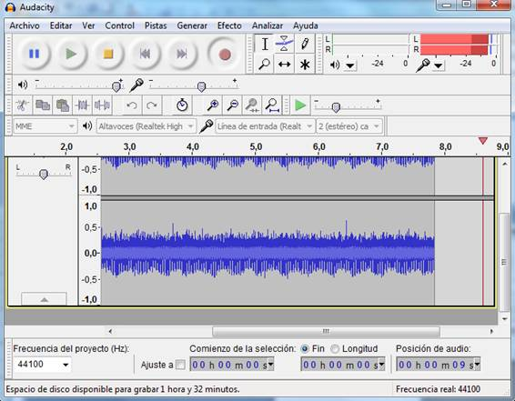 Interfasz de Audacity grabando el audio