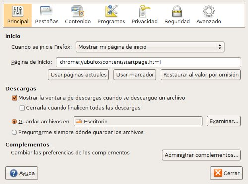 Preferencias de Firefox