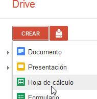 Crear hoja de cálculo en Google drive