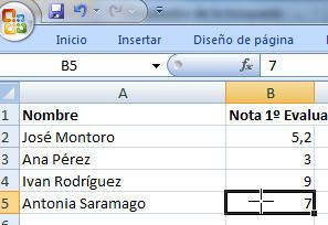 Hoja Excel del Microsoft office