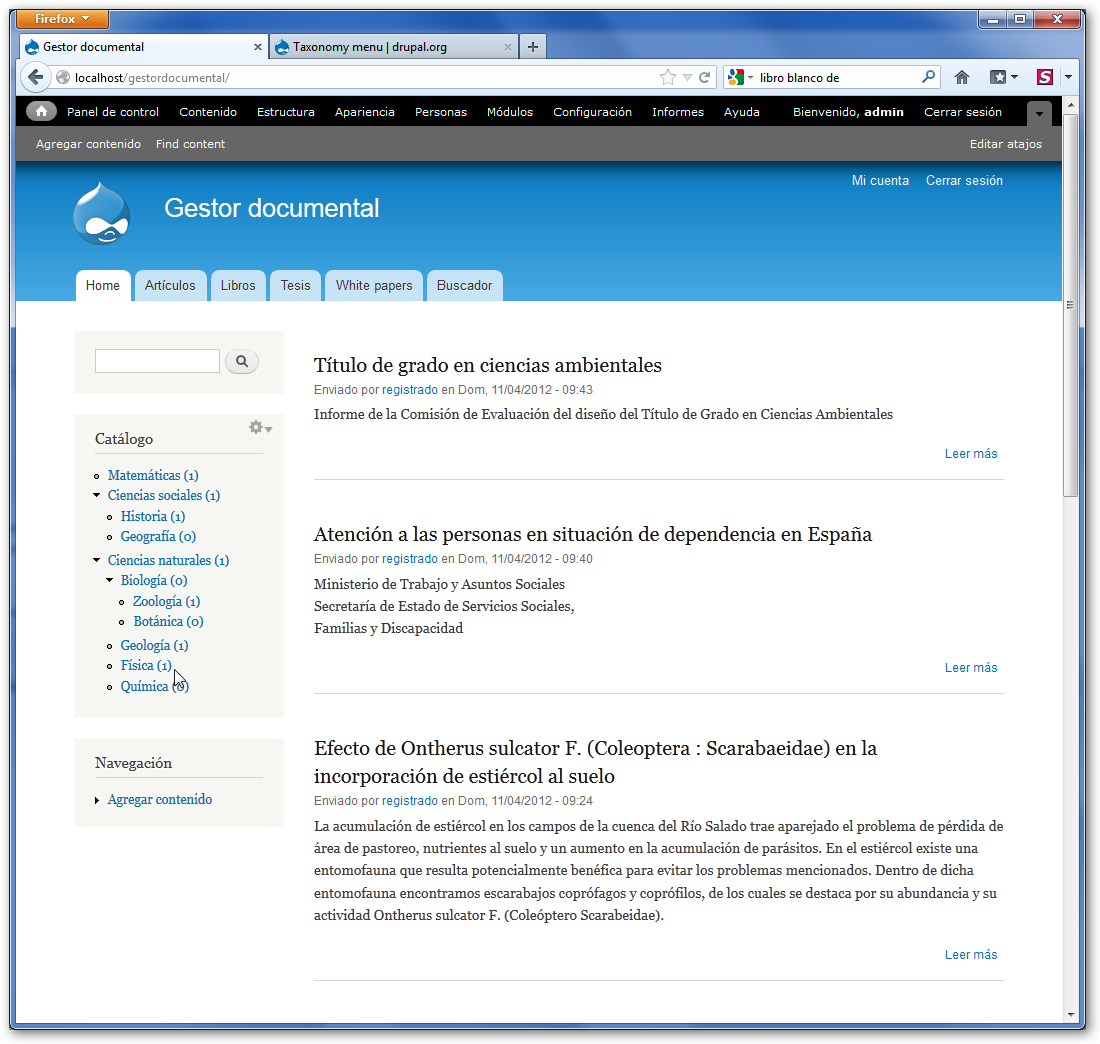Gestor documental web con Drupal