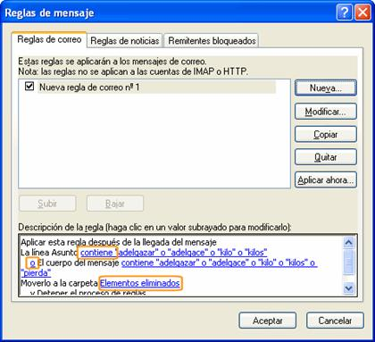 filtro antispam outlook: