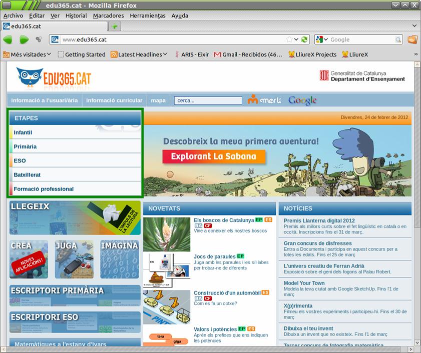 Portal de recursos Edu365