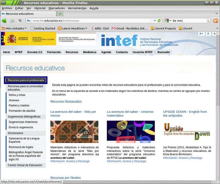 Portal de recurtsos del INTEF