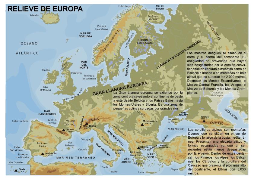Mapa fsico de Europa el relieve