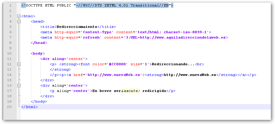 html pagina web: